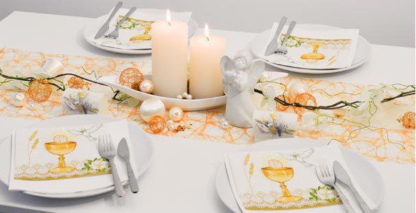 Tischdekoration In Orange Creme Kaufen Tischdeko Shop