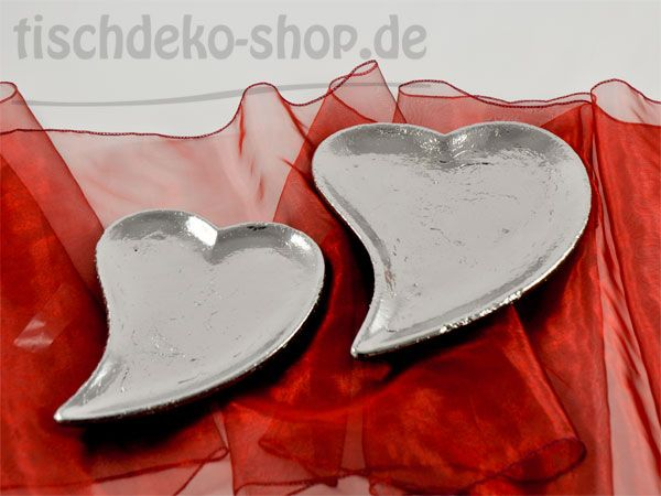 Herz-Teller Keramik, Silber, glasiert