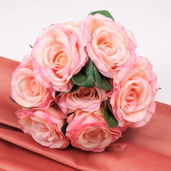 Rosenstrauß Rosa Apricot 7 Blüten D 23 cm bei Tischdeko-Shop.de