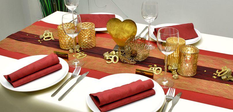 Tischdekoration In Dunkelrot Gold Kaufen Tischdeko Shop
