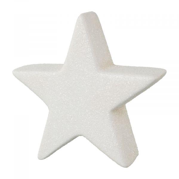 Stern Weiß Glitter stehend Keramik 10 cm Weihnachtsdeko bei Tischdeko-Shop.de