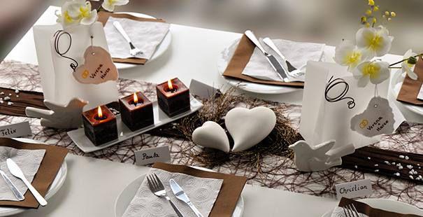 Tischdekoration In Braun Weiss Kaufen Tischdeko Shop