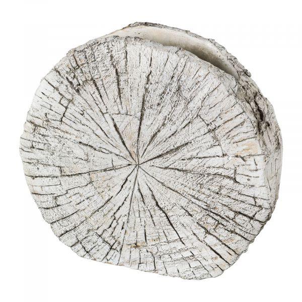 Cement Vase Birkenscheibe Creme 18,5x17,5cm bei Tischdeko-Shop.de