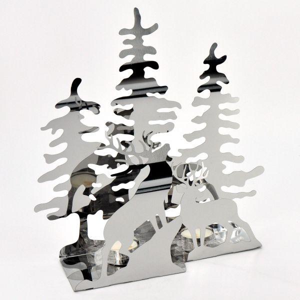 Teelichthalter Edelstahl Waldszene L 29cm H 30 cm B 10 cm