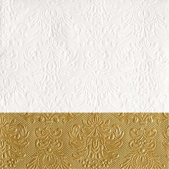 Serviette Elegance Dip Gold 33x33cm 15 Stück bei Tischdeko-Shop.de