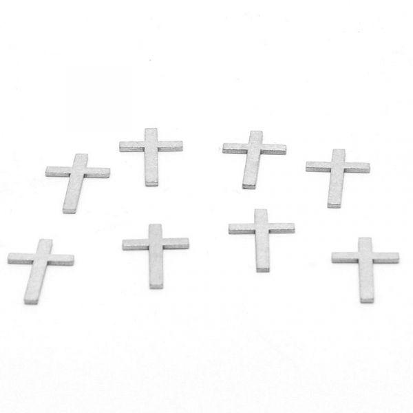Streudeko Kreuz Silber Holz ca. 4cm 8 Stück