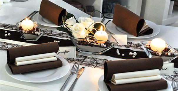 Tischdekoration In Braun Creme Kaufen Tischdeko Shop