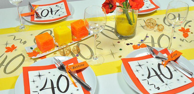 Tischdekoration Zum 40 Geburtstatg In Gelb Und Orange