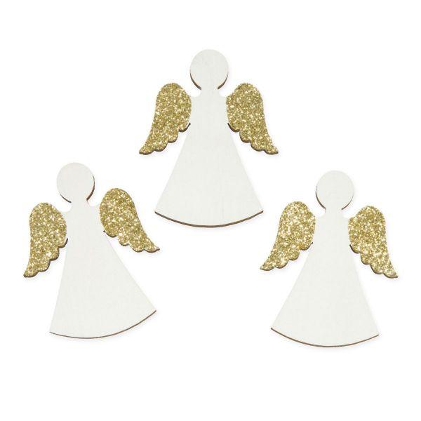 Streudeko Engel Weiß Gold-Glitter 4,5x6 cm 12 Stück bei Tischdeko-Shop.de