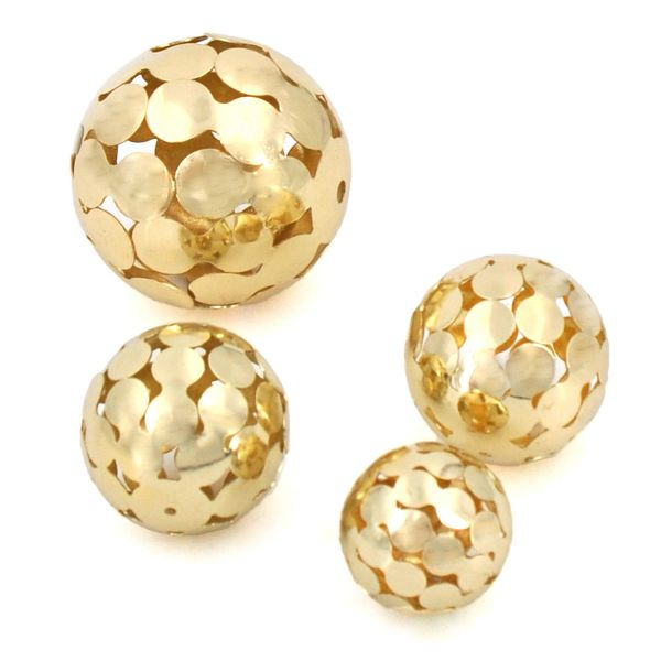 Deko-Kugeln Metall Gold glänzend 3 Größen 4er Set bei Tischdeko-Shop.de