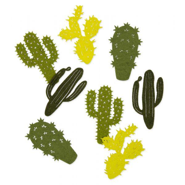 """Filzsortiment """"Kaktus"""" Grün 7cm 4 Motive 16er-Set bei Tischdeko-Shop.de"""