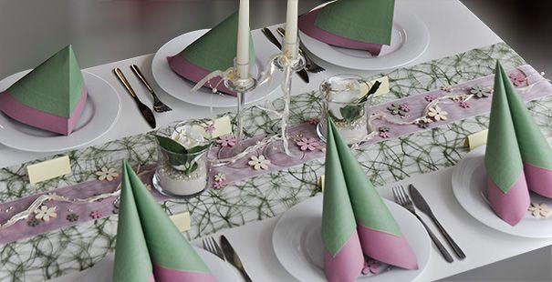 Tischdekoration Moosgrun Altrosa Champagne