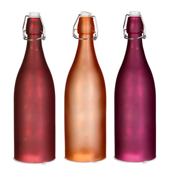 Deko-Flasche Glas mit LED-Lichtern und Verschluss 24.5cm