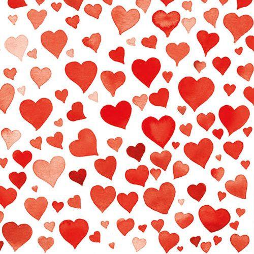 Serviette Colorful Hearts Red Hochzeit 33x33cm 20 Stück
