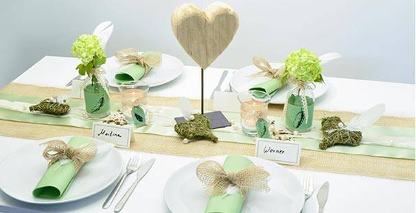 Tischdeko Grün tischdekoration jute mit hellgrün kaufen tischdeko shop