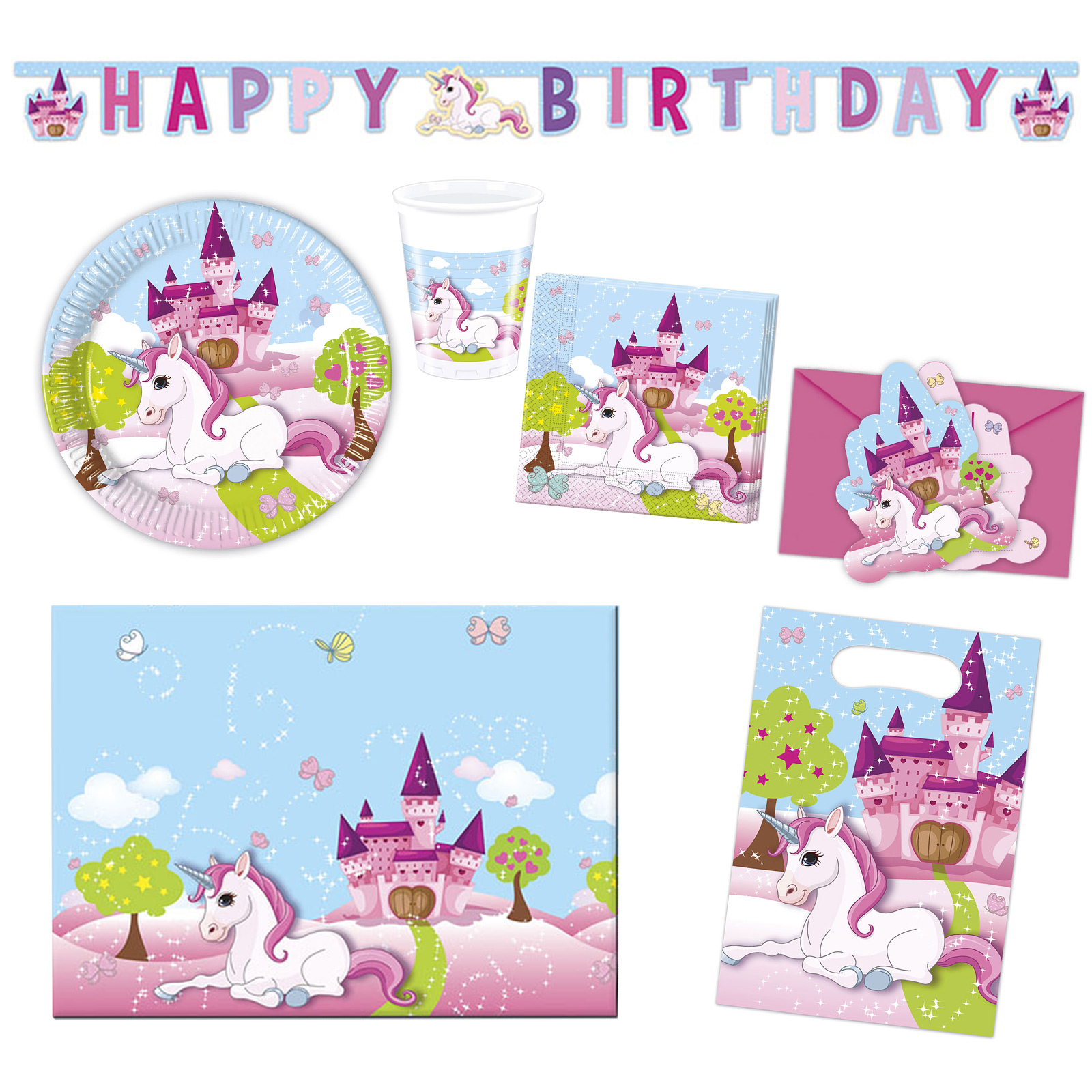 Party Set Unicorn Einhorn 50 Teilig Fur 6 8 Personen