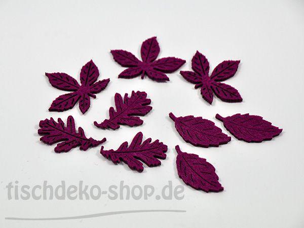 Blätter Filz 3 fach sort. Aubergine 9 Stück bei 'Tischdeko-Shop.de