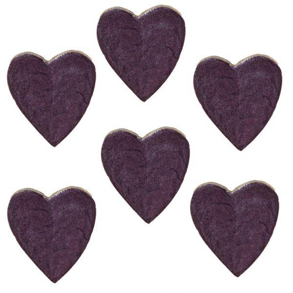 Streudeko-Herzen Holz Aubergine lackiert 5cm 6er-Vorteilsset