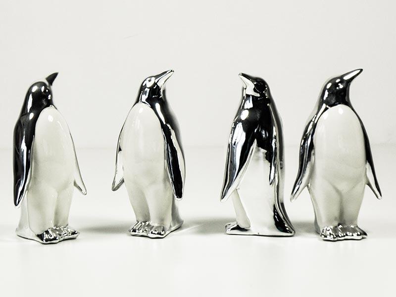 Dekofiguren Pinguine Silber Weiß Porzellan 15cm 4er Set