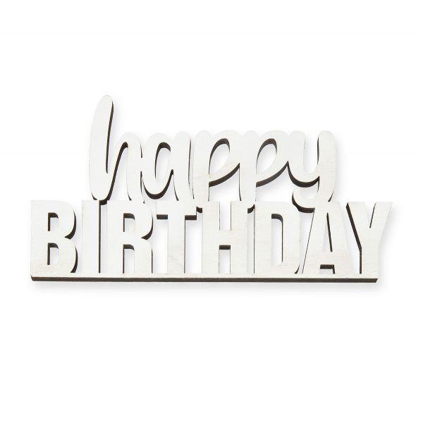 Schriftzug Happy Birthday Weiß gelasert 12x6cm bei Tischdeko-Shop.de