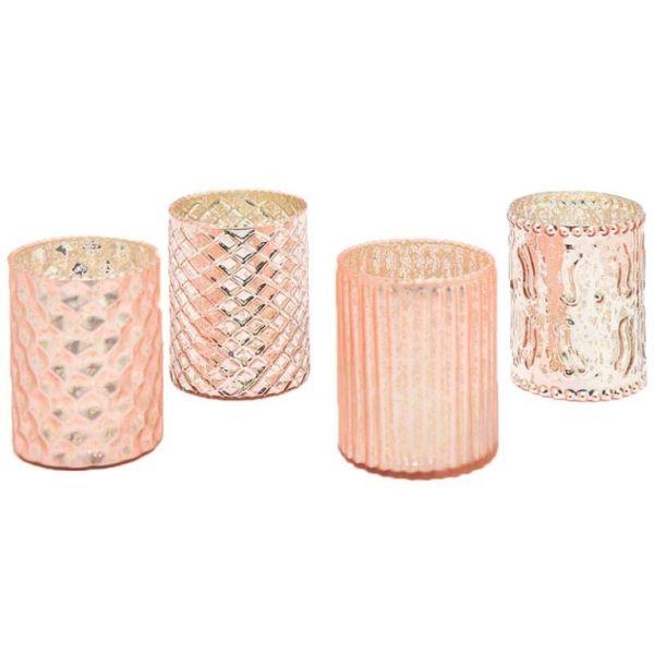 teelichthalter deko gl ser rosa kupfer vintage 10cm 4er set ebay. Black Bedroom Furniture Sets. Home Design Ideas