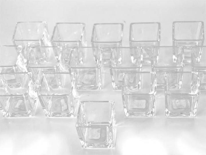 teelichthalter glas 6x6x6cm 24er vorteils set konisch bei ti. Black Bedroom Furniture Sets. Home Design Ideas