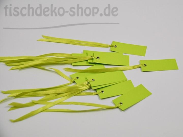 Namensk rtchen 7x3cm kiwi gr n 12er set mit satinb ndchen ca for Tischdeko shop