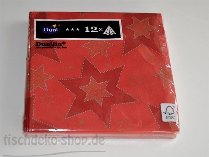 Weihnachten duni servietten 40x40cm starshine red 12er pack - Duni weihnachtsservietten ...