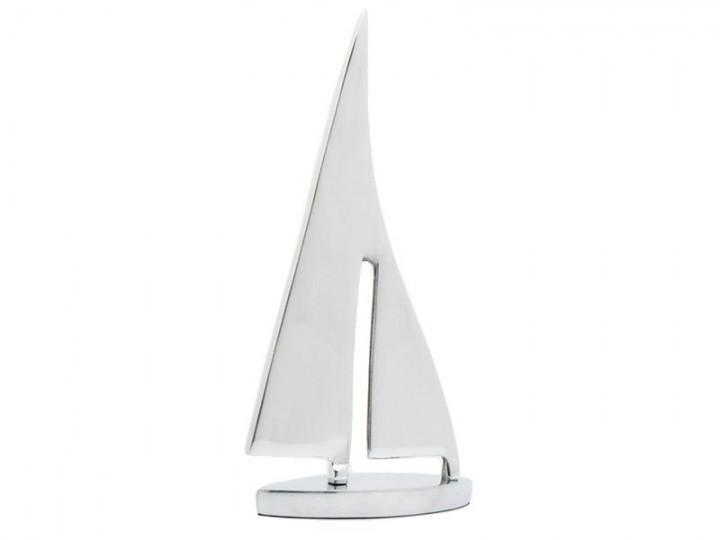 Deko Segelschiff Aluminium Massiv Poliert Moderne Form 24cm
