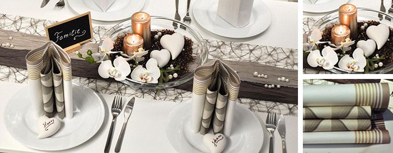 Diese Tischdekoration in Taupe und Pearl verleiht Ihrer Hochzeitstafel ...