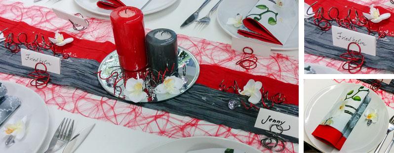Tischdekoration zum Geburtstag in Rot und Grau