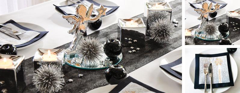Tischdekoration Weihnachten Schwarz/ Silber mit Engel bei Tischdeko ...