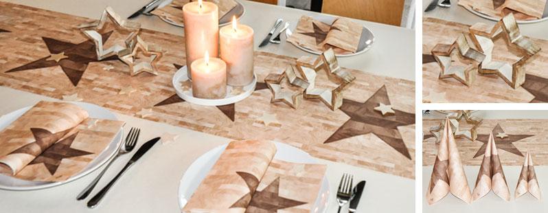Weihnachtliche tischdekoration motiv woodstar von duni bei for Duni weihnachtsservietten