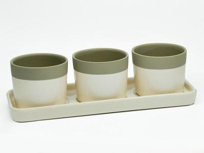 3 Übertöpfe auf Tablett Creme Taupe Keramik 37x13x10cm