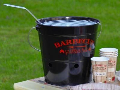 Barbecue Grill Eimer GRILLED HOT Schwarz mit Aufdruck