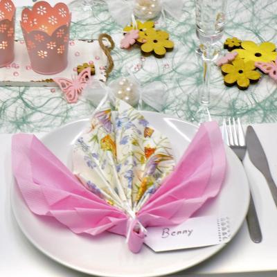"""Frühlingshafte Tischdeko """"Blümelein"""" in Grün kombiniert mit Rosa"""