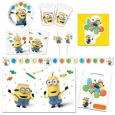 Kinderparty-Set Minions 56-teilig für 6-8 Kinder