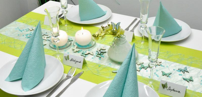 Tischdekoration in Kiwi und Mint zum Geburtstag