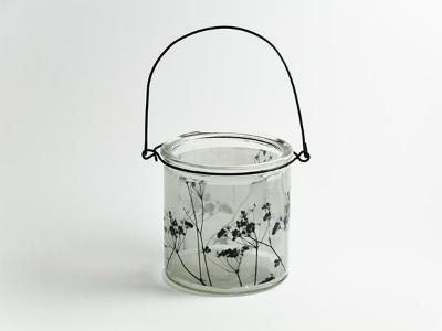 Windlicht Glas mit Druck D10cm H 10cm