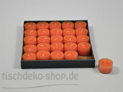 8-Stunden-Teelichter Mandarine 25-Stück-Spar-Packung