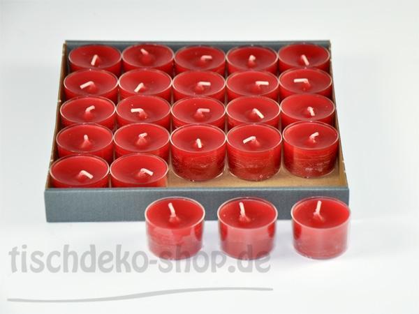 8-Stunden-Teelichter Rot 25-Stück-Spar-Packung