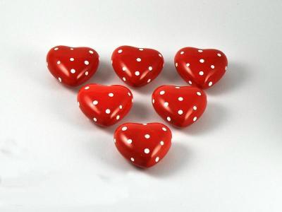 Herz rot/weiß gepunktet Ø6cm 6er Set Keramik
