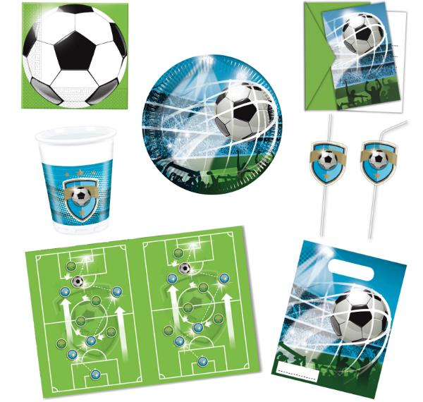 Kinderparty-Set Fussball 55-teilig fuer 6-8 Kinder