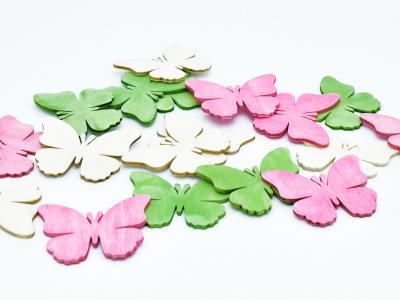 Streudeko Schmetterling Rosa, Hellgrün, gebleicht 6cm 18er P