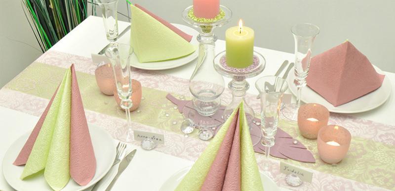 Tischdekoration-Spitze-Altrosa-Lindgruen