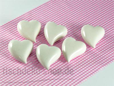 Herz Ø 7cm creme-weiß glänzend Keramik 6er Pack