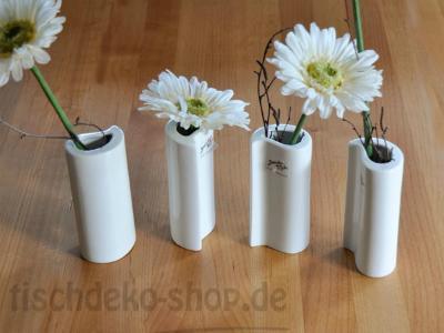 Vase Porzellan H 12,5cm Ø 6x4cm Weiß Tropfenform
