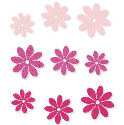Filzsortiment Blüten Rosa 36 Stück D 3-4.5cm