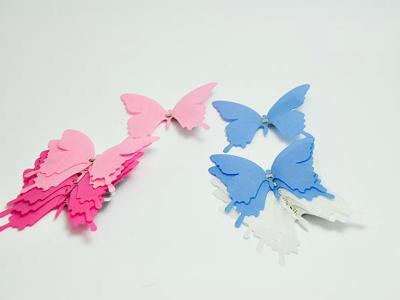 Schmetterlinge mit Clip Blau / Weiß 6 Stk