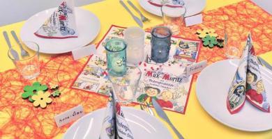 Tischdekoration Einschulung Max Moritz